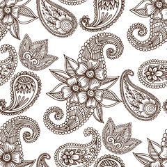 Henna tattoo mehndi flower doodle ornamental decorative indian design pattern paisley arabesque mhendi embellishment seamless pattern background vector.
