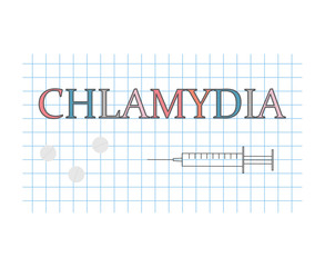 chlamydia word on checkered paper sheet- vector illustration