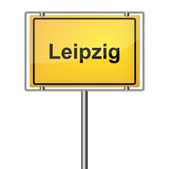 Ortsschild - Leipzig