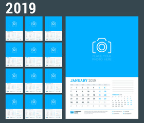 Wall calendar planner template for 2019 year. Set of 12 months. Week starts on Monday. Vector illustration