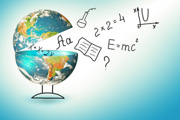 Globe and symbols of the school. Educational concept. Illustration 3d of educational school concept. Elements of this image furnished by NASA