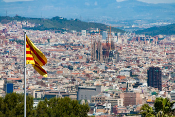 Panorama view of Barcelona from Montjuic Castle, Spain