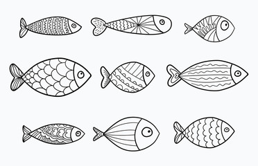 Set of vector stylized fishes. Collection of aquarium fish. Linear Art. Illustration for children.