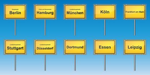 Ortsschilder - Wichtige Städte von Deutschland