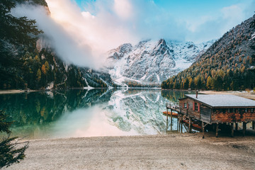 Fototapete - Great alpine lake Braies. Location place Dolomiti, national park Fanes-Sennes-Braies, Italy.