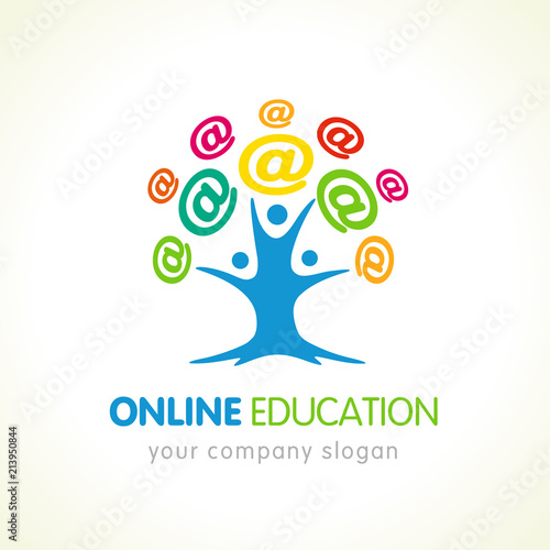 Online education logo, people tree and colored internet sign ...