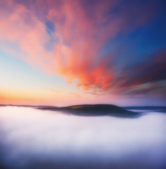 Great view of the foggy river. Location place Dnister canyon, Ukraine, Europe.