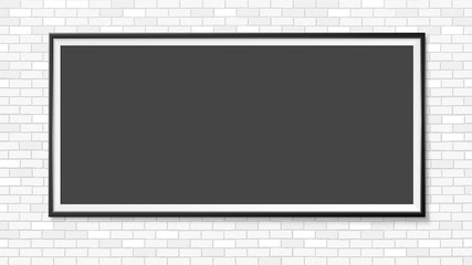 Frame on the wall. Photoframe mock up. Simple empty framing for your business design. Brick wall. Vector template for picture, painting, poster, lettering or photo gallery.
