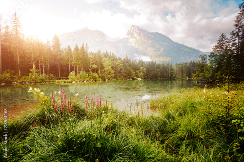 Wall mural Famous tourist attraction of calm lake Hintersee.
