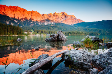 Wall Mural - Famous lake Eibsee the best outdoor adventure vacation destinations.