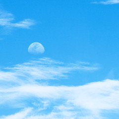 sky and clouds with moon