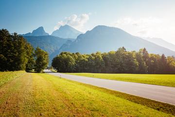 Scenic surroundings near the Konigsee lake. Wonderful day and gorgeous scene.