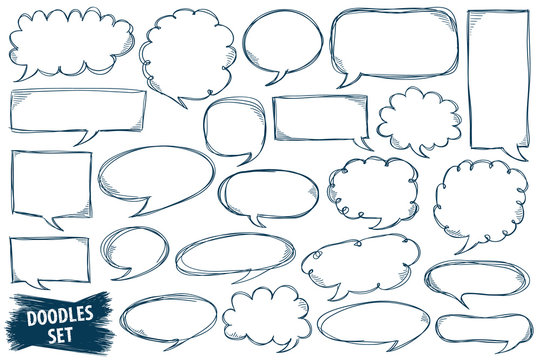 Speech bubble doodles set. Scribble frames collection. Sketch vector. Hand drawn effect illustration. Messages, phrases, text, chat, talk or dialog clouds set. Scrawl graphics isolated on white.