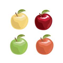 Apple set in cartoon style. Vector illustration.