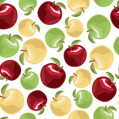 Apples seamless pattern. Vector illustration.