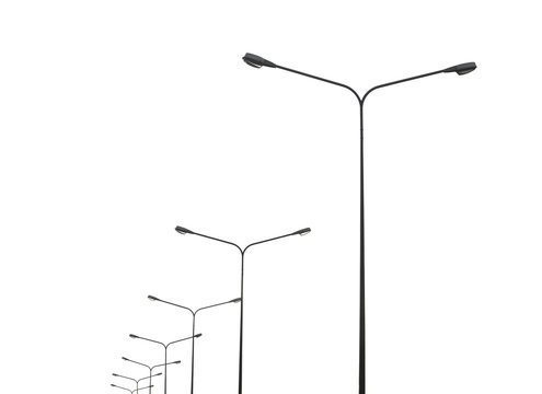 street lightting poles isolated on white