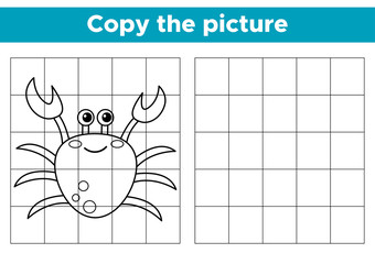 Educational game copy the picture. Funny cartoon crab. Activity worksheet for kids. Coloring book. Vector illustration