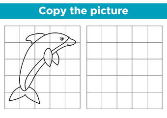 Educational game copy the picture. Cartoon dolphin. Coloring book for children. Vector illustration