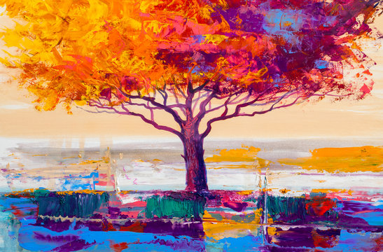 Tree oil painting, artistic background
