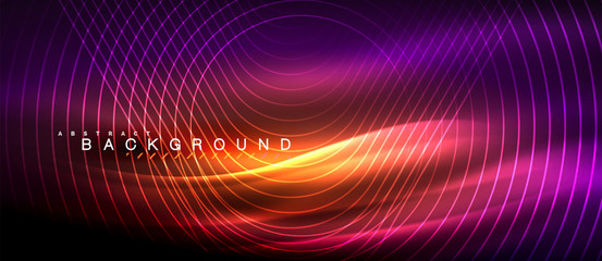 Neon glowing lines, magic energy space light concept, abstract background wallpaper design Fotoväggar