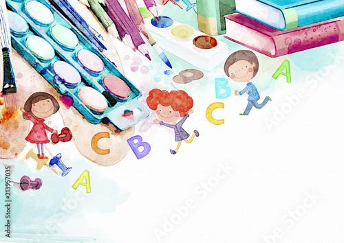 Watercolor school background with children