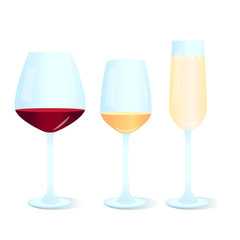 Set of different wine glasses icons: for red, white and champagne.