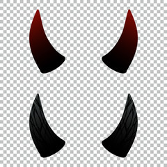 Devil, demon or satan horns set, collection on transparent background. Vector design elements for halloween.