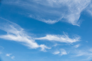 Cirrostratus cloudscape or Fluffy cirrus clouds on blue sky, Beautiful cirrocumulus on the high altitude layer
