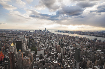 Manhattan street view and Nyc buildings from Empire State Building in New York City