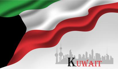 Vector illustration of Kuwait Happy National Day 25 Februay. arabic calligraphy translation : kuwait national day background.