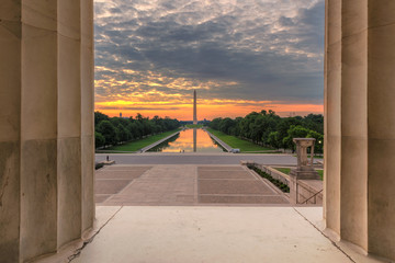 Washington Monument at Sunrise from new reflecting pool by Lincoln Memorial,  Washington DC, USA.