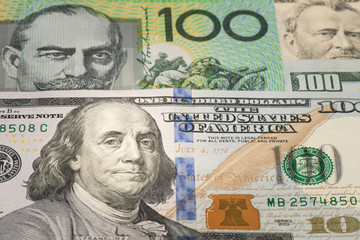 Benjamin Franklin on one hundred dollar banknote, Detail of banknote 100 USD and AUD with face