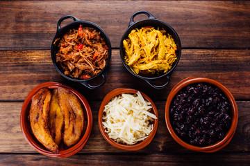 Ingredients to fill Venezuelan arepas