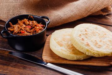 Venezuelan breakfast, Arepas and mechada meat to fill
