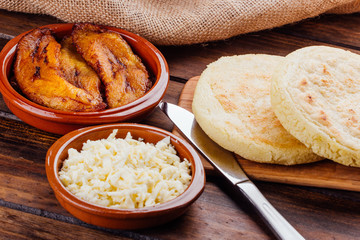 Venezuelan breakfast, Arepas with fried plantain and cheese