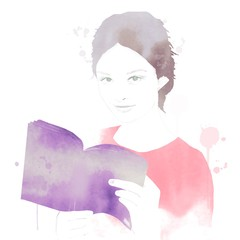 Girl reading book in watercolor with splashes