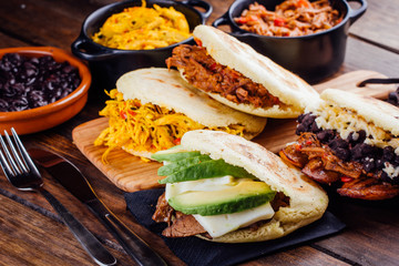 Latin American breakfast, Arepas with several ingredients.