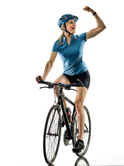 Foto auf Gartenposter Radsport one caucasian cyclist woman cycling riding bicycle celebrating happy isolated on white background