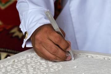 Stonecutter hand. Qatar