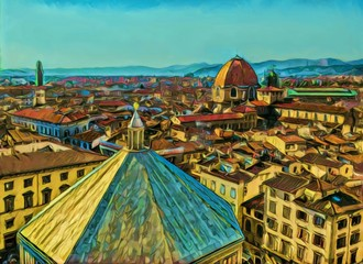 Cityscape view of Florence, tourism in Italy. Italian city old architecture. Big size oil painting fine art. Modern impressionism drawing artwork. Creative artistic print for poster, canvas or paper.