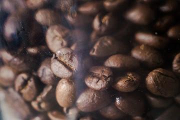 Fresh Coffee seed in jar, marco closeup in dark tone