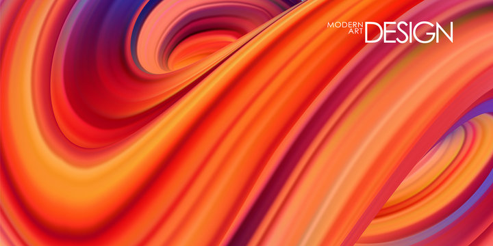Vector illustration: Red colored abstract twisted wavy liquid background. Trendy design.