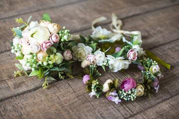 wreath, wedding decoration of the bride, flowers, bouquet