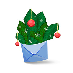 An envelope with fir branches for congratulation.
