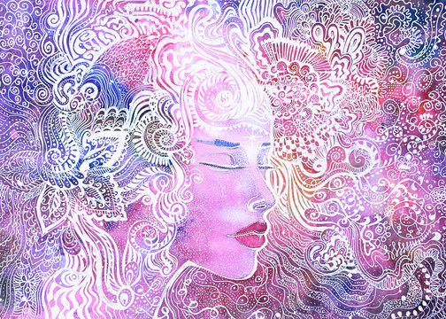 dipinto donna bella eterea concentrazione