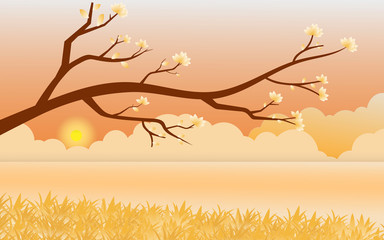 Illustration vector of Colorful Autumn Wallpaper background with front tree and flower with sunset or sunrise in evening or morning, Landscape with golden river background, Concept Paper art idea