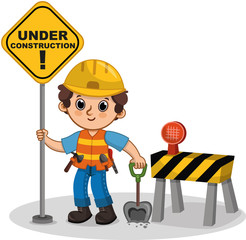Vector cute character holding the sign. Under construction. Cartoon illustration.