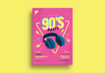 90s Music Party Flyer Layout