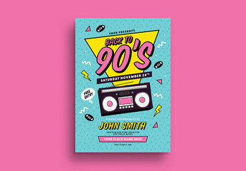 Back to the 90's Event Flyer Layout