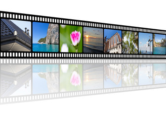 Film strip with architecture, travel, and nature photos collage illustration with empty copy space for your text